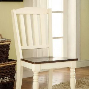 Harrisburg Vintage White Dark Oak Table Chair(2PK)