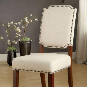 Osburn Brown Cherry Ivory Table Chair(2PK)
