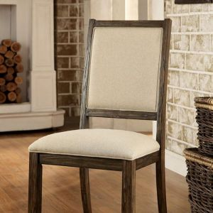 Colettte Rustic Oak Beige Table Chair(2PK)