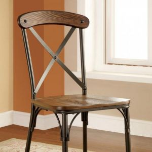 Crosby Natural Elm Bronze Table Chair(2PK)
