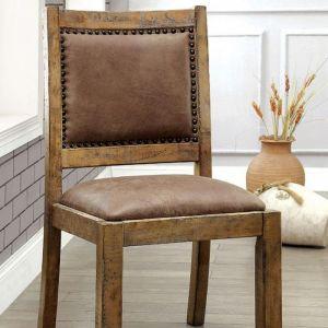 Gianna Rustic Pine Brown Table Chair(2PK)