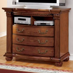 Bellagrand Antique Tobacco Oak Media Chest