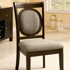 Evelyn Dark Walnut Beige Table Chair(2PK)